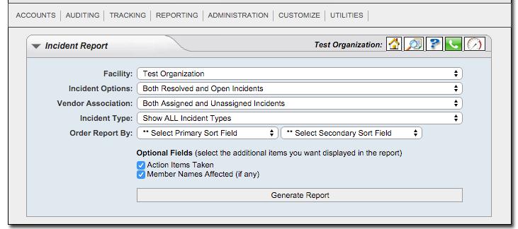 Incident Report Window